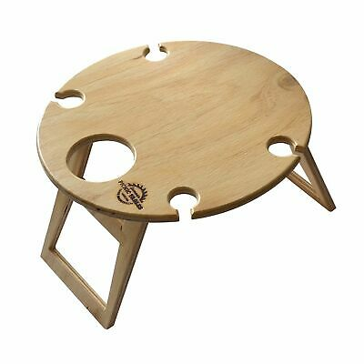 NEW SUMMER PICNIC TABLE Wine Bottle Wood Pine Timber Folding 40 x 40cm ROUND