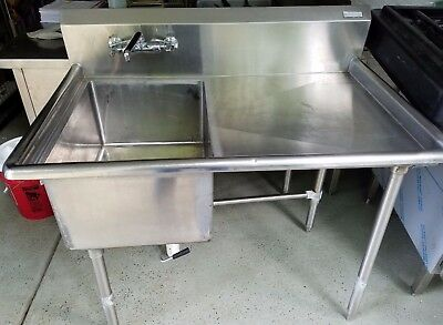"4 Ft Heavy Duty Stainless Steel 1 Comp Sink 46""x 30"" Right Drainboard w/ Faucet"