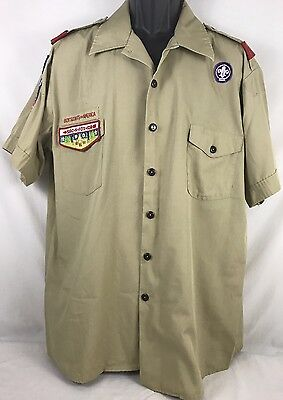 Vintage Mens Boy Scouts Of America Uniform Shirt Khaki Patches Adult XL