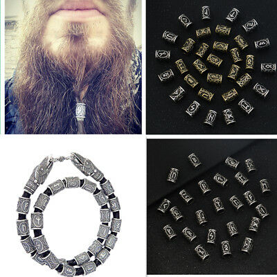 DIY 24pcs Different Kinds of Viking Rune Beads For Jewelry Making or Hair Beard