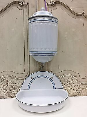 Antique French Blue and White Enamel Fountain and Basin Rare - TM527