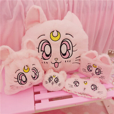 Japanese Sailor Moon Luna Cat plush Keychain Throw Pillow Drawstring Bag Blanket