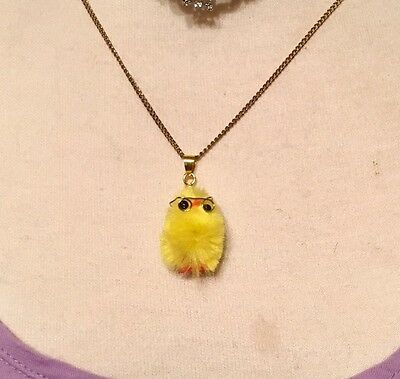 Vtg Tiny Chenille Chick Yellow Easter Chicken Pendant, Charm Adorable!