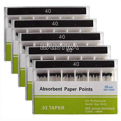 5X Dental Absorbent Paper Points 40# Taper.02 Root Canal Cleaning Tips 200pc/Box
