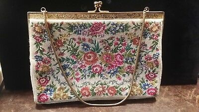 Vintage Off White Floral Petti Point Purse With Gold Tone Clasp Free Shipping