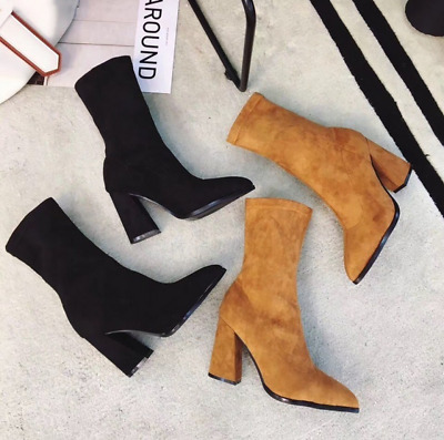 Ladies Womens Sock Pull On Stretch Ankle High Boots High Heels Pointed Shoes
