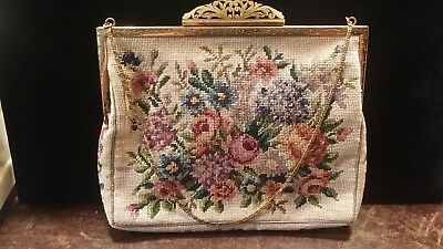 Vintage Off White Jolles Floral Petti Point Purse Free Shipping