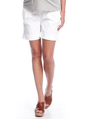 NEW - Queen mum - Cuffed Shorts in White - Maternity Shorts