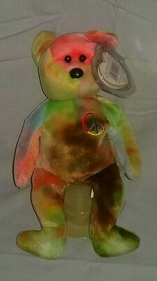 Ty Beanie Baby Babies~PEACE BEAR~5th Gen. Rare Stamp & Error~112~Fareham