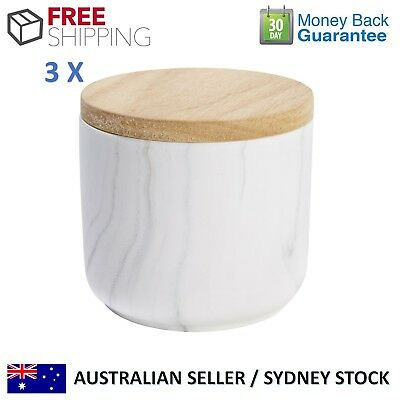 SET OF 3 KITCHEN CANISTER SET Contemporary Tea Coffee Sugar Salt Marble White
