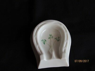 Vintage BELLEEK Irish Porcelain Horse Shoe Shamrock Ashtray