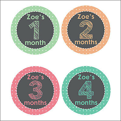 Personalised Monthly Baby Stickers, Milestone Stickers, Baby Shower Gift_G019