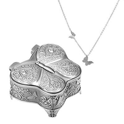 Vintage Jewelry Box Metal Butterfly Shaped with Antique Flower Carved Trinket...