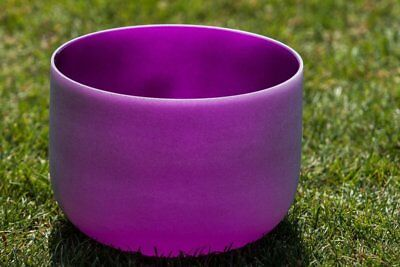 """Frosted B Crown Chakra  Purple Colored Quartz Crystal Singing Bowl 7"""""""