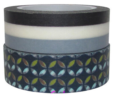 2x Rolls Washi Tapes Craft Supplies for Scrapbooking  Borders New 15mmx10M Multi