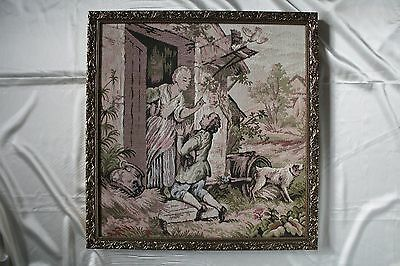 Cross Stitch Painting Wooing in SilverColor Frame Awesome Antique Collectable
