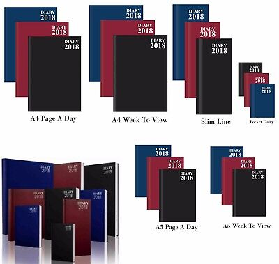 2018 A4/A5/A6 Diary Day to Page or Week to View Pocket Slim Desk Diary Hard Back