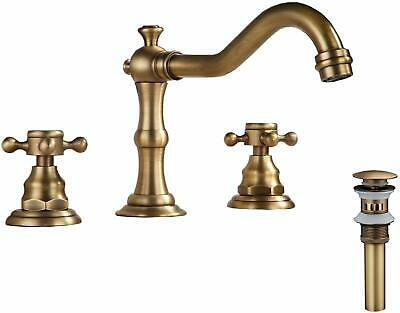 Bathroom Sink Faucet Widespread Waterfall Tub Antique Brass Dual Cross Handles