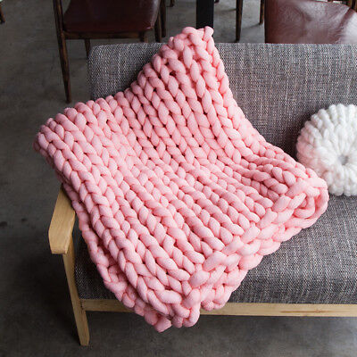 Hand Chunky Knitted Blanket Thick Yarn Merino Wool Bulky Knitting Throw 42 by79