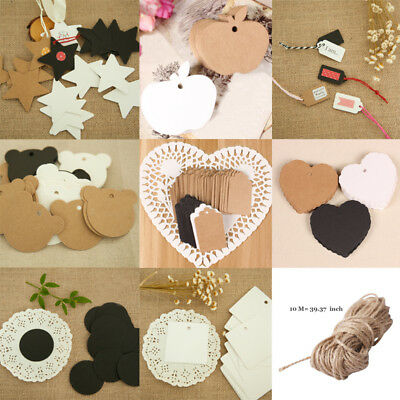 Xmas Blank Brown Kraft Paper Hang Tags Wedding Party Favor Label Price Gift Card