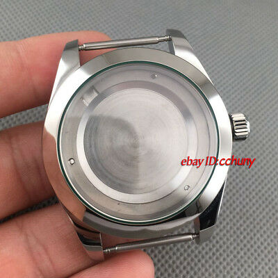40mm Sapphire Glass 316L steel silver Watch Case fit ETA 2824 2836 movement P707