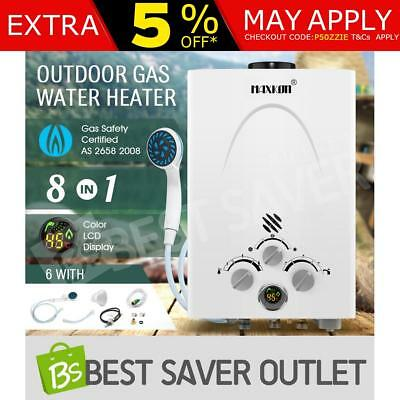 8 in 1 Gas Hot Water Heater Portable Instant Shower Camping LPG Outdoor