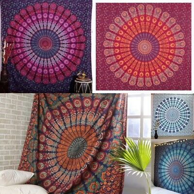 Boho Indian Peacock Mandala Wall hanging Hippie Home Decor Queen Size Tapestry