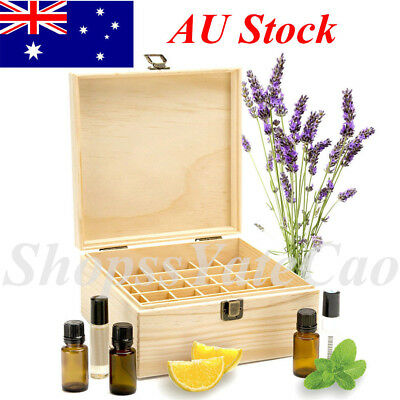 25 Slot Essential Oil Storage Box Wooden Case Wood Container Organizer Display