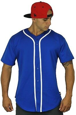 (Large, Royal Blue) - Baseball Jersey T-Shirts Plain Button Down Sports Tee