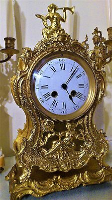 Antique French Boulle Style Gilt Mantel Clock & Base.