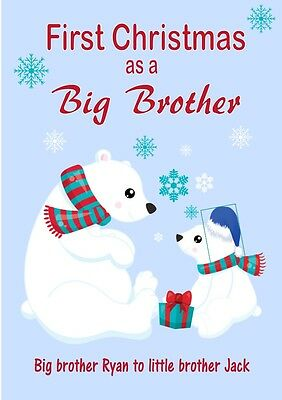 Personalised Cute Polar Bear First Christmas Big Brother to Little Brother Card