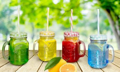 4 x MASON COLORED JAM JAR GLASS WITH HANDLE LID STRAW DRINK GLASS DRINKING 450ML