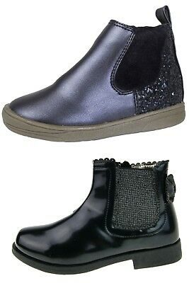 Girls Faux Leather Chelsea Ankle Boots 3D Bow Party Shoes Warm Winter Size