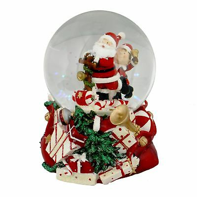 Musical Santa & Elf on Sleigh Christmas Snow Globe Decoration