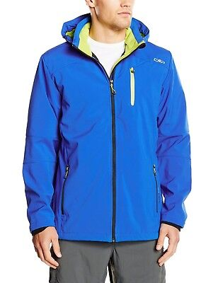 (58, blue - Royal-Lime Green) - CMP Men's Softshell Jacket. Delivery is Free