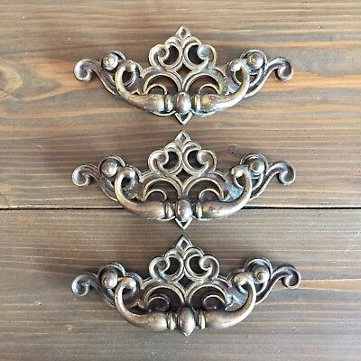 Lot Of 3 Vintage Brass Ornate Drawer Pulls/Handles, Heavy Duty, FREE SHIPPING!