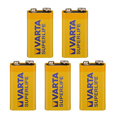 5x VARTA SUPERLIFE Batterie 9V Block 6F22 Zinkchlorid • ideal für Rauchmelder