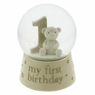 Bambino by Juliana Cream Glitter Snow Globe 1st Birthday Teddy  CG1241