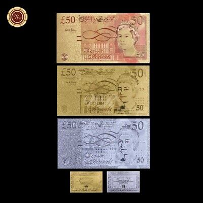 WR 3 Color/Lot UK 50 Pound Banknote Britsh Gold&Colored&Silver Gift +Certificate