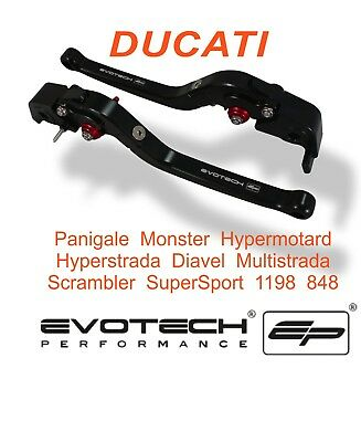 ALL DUCATI's Evotech Performance Long Black Folding Brake & Clutch Levers Set