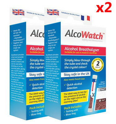 2 x ALCOWATCH ALCOHOL BREATHALYSER KIT DISPOSABLE UK APPROVED