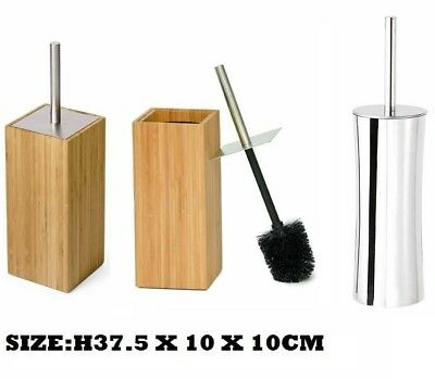 Luxury Bamboo Wood / Stainless Steel Toilet Brush & Holder Set Bathroom Cleaning