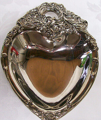 Leonard Vintage Silverplate Heart Shaped,  Made In Italy Candy Dish