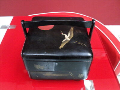 Antique Chinese /Japanese Black lacquer Paper Mache Food Box