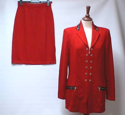 ST JOHN COLLECTION by MARIE GRAY Red Knit Skirt Suit Gold Zips Jacket US 6/10