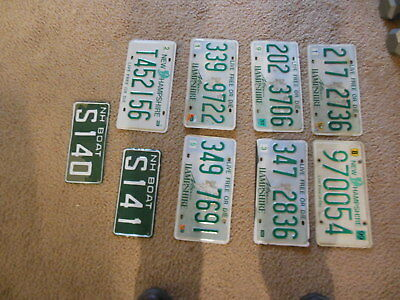New Hampshire NH License Plate Lot of 9 Various 2 Boat Plates