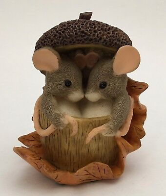 Charming Tails Acorn Built For Two Mice Figurine Fall Leaf  Thanksgiving 85/403