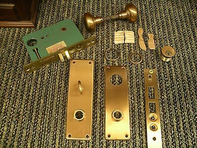 Russwin Brass Door Lock Vintage Hardware Set, Knob, Plate, Lock