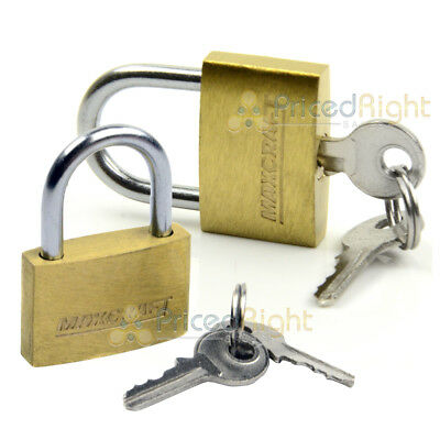 "2 pack Lot 1"" Inch Key Padlock Mini Tiny Small Brass Lock Luggage Toolbox Box"