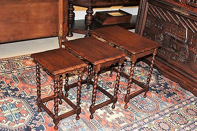 Beautiful Antique English Oak Barley Twist Set of 3 Nesting Tables .